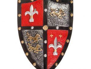 Great Pretenders Ασπίδα ιππότη πλαστική – εφέ δέρμα Κόκκινη-ασημί