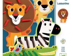 Djeco Εκπαιδευτικό παιχνίδια λεπτής κινητικότητας με κορδόνια Ζωάκια Ζούγκλας