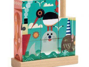 Djeco 4 ξύλινοι κύβοι – παζλ με καβίλιες Ζωάκια στη Θάλασσα