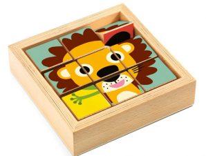 Djeco 9 κύβοι σε ξύλινο πλαισιο Ζωάκια