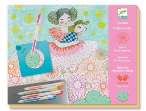 Djeco Σχεδιάζω και χρωματίζω με σπιράλ Μοτίβα σε φορέματα