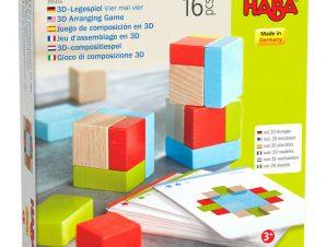 Haba 3D Ξύλινο παιχνίδι αντιγραφής με 21 τουβλάκια και 10 κάρτες σχεδίων 4 επί 4.