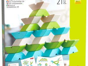Haba 3D Ξύλινο παιχνίδι αντιγραφής με 21 τουβλάκια και έντυπο σχεδίων Διάφορες κατασκευές