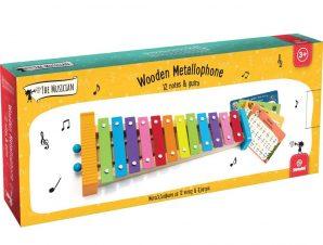 Svoora Ξύλινο Χρωματιστό Μεταλλόφωνο με 12 Νότες, ηχείο, ξύστρα, αναλόγιο και παρτιτούρες παιδικών τραγουδιών.