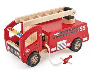 PinToy Ξύλινο Πυροσβεστικό όχημα, από μασίφ καουτσουκόδεντρο