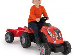 Smoby Smoby παιδικο τρακτερ με πεταλια κοκκινο μαζι με καροτσα farmer xl red (710108)